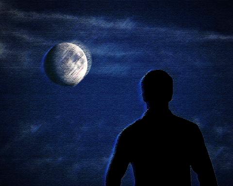 natt-ensamhet-månen